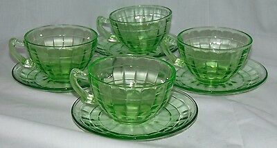 4 Anchor Hocking BLOCK OPTIC GREEN *FANCY HANDLE CUPS w/ CUPPED SAUCERS*