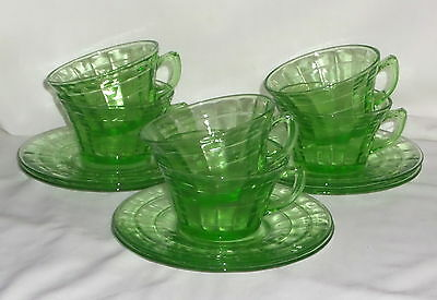 """6 Anchor Hocking BLOCK OPTIC GREEN *LARGE 3 3/4"""" CUPS & SAUCERS w/RING*"""
