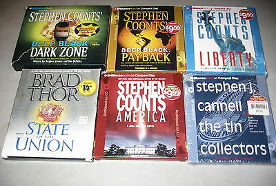 Lot of 6 Best-Selling Mystery Books on CD, Brad Thor, Stephen Coonts, Cannell