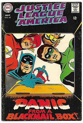 JUSTICE LEAGUE OF AMERICA #62 Fine 6.0 NICE! Panic from a Blackmail Box!