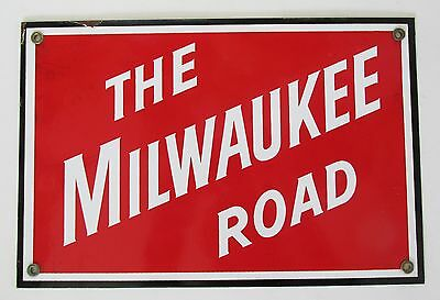 "Vintage 12"" x 8"" THE MILWAUKEE ROAD General Store Advertising Porcelain Sign"
