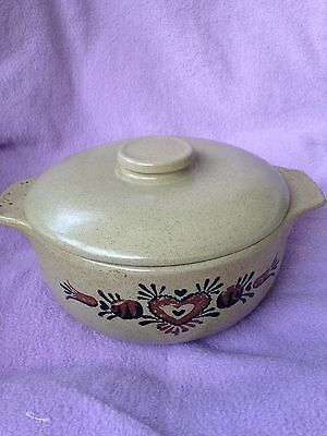 Monmouth Ill Usa Pottery Green Speckled Casserole Bean Pot With Lid