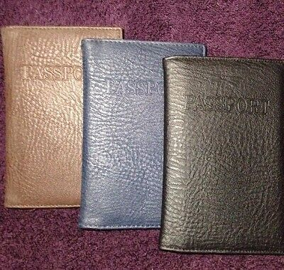 Passport Cover Leather Blue Black Brown