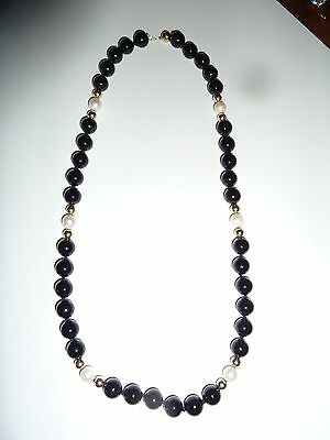 Vintage Pearl Onyx and 10 K Gold Beaded Necklace