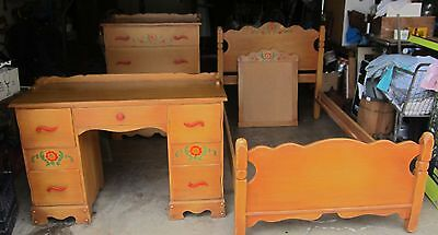 Vintage 4 Pc Signed Mason Rancho Monterey Bedroom Set