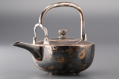Japanese Old Pure Silver Tea Kettle / 純銀製銚子/ W18.5× D12.3× H13.5 [cm] 340g