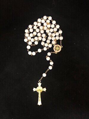 *NEW* WHITE Crystal Glass ROSARY Beads Necklace With Crucifix and Photo Frame