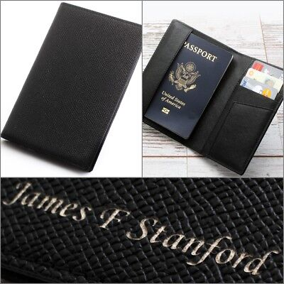 Free Engraing - Leather Passport Holder ID Case Credit Card Wallet Men's / Women