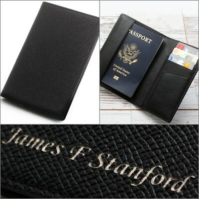Free Engraving, Leather Passport Holder ID Case Credit Card Wallet Men's / Women