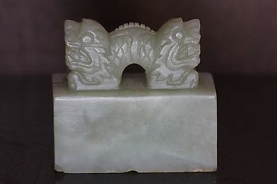Fine Chinese Celadon Jade Antique Rectangle Chop Seal With Double Dragon
