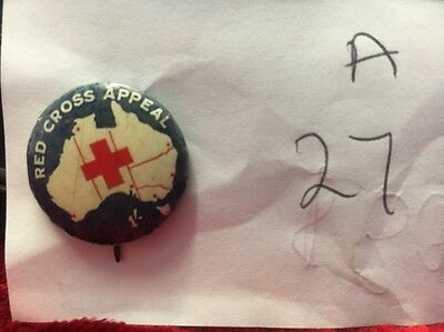 Vintage Map Of Australia Red Cross Appeal 1/-Badge