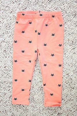 NWT Baby Gap Girls Orange Leggings Pants w/ Kitty Cat Print Size 2T
