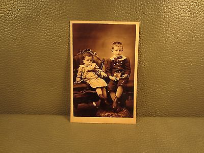 Victorian Antique Cabinet Card Photo of 2 Young Boys ......FREE SHIPPING