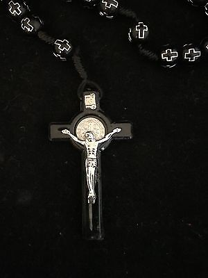 *NEW* BLACK PLASTIC with Cross Religious ROSARY Beads Necklace With Crucifix