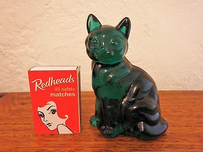 Fenton Solid Dark Green Sitting Cat Unpainted Collectable Mint Condition
