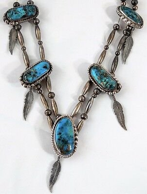 Vtg Pawn NAVAJO Morenci Turquoise Sterling Silver Squash Blossom Necklace Choker