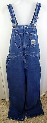 MEN'S CARHARTT Work Overalls Pants Bib Blue Size 40 X 28