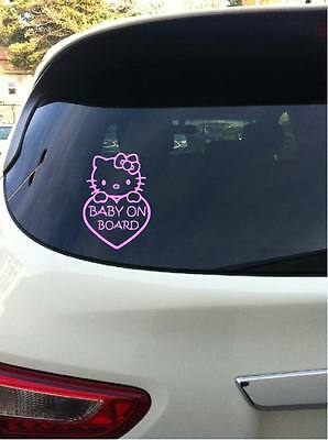 Baby On Board Hello Kitty Vehicle Sticker Window Decal 7 Inches Pink