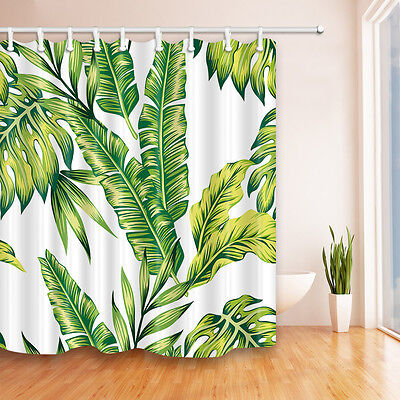 "72x72"" Banana Leaf Shower Curtain Tropical Jungle Martinique Green Palm w Hooks"