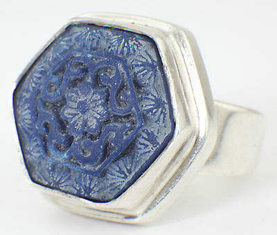 VINTAGE STERLING 925 SILVER RING SET w INTAGLIO BLUE STONE 1970s