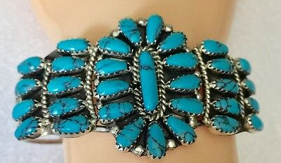 Native American Sterling Silver Turquoise Cuff Bracelet Signed Sw Ex Condition!