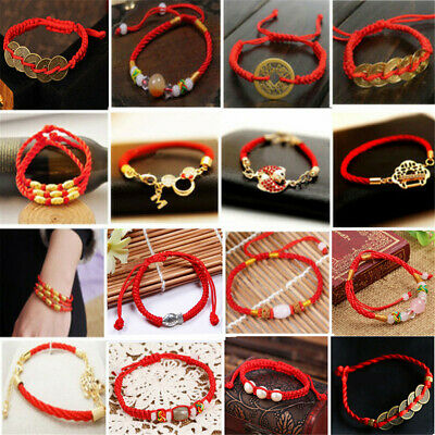 Chinese Feng Shui Red String Wealth Lucky Charm Friendship Bracelet Jewelry