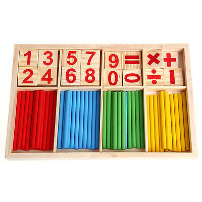 Wooden Numbers Kids Early Learning Counting Math Manipulatives Educational Toy