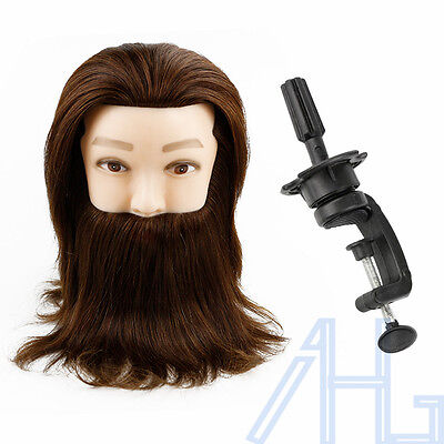 Hairdressing Training Mannequin Man With Beard Head 100% Real Human Hair & Clamp