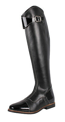 QHP Leather Riding Boots Black Size 8 Standard Calf