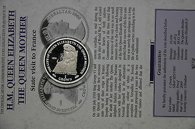Gibraltar 1 Crown 2000 Silver Proof Queen Mother With Coa Cxqueen28 A60