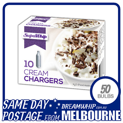 Same Day Postage Supawhip Cream Chargers 10 Pack X 5 (50 Bulbs) Whipped N2O