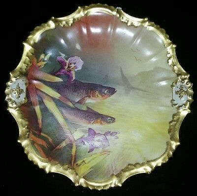 19th C. Limoges France Signed Gilt Hand Painted Plate
