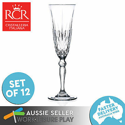 12x RCR Wine Glass Champagne 160ml Premium Italian Crystal Glass Gift Party