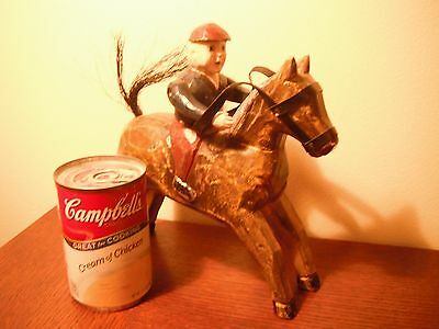 Folk Art Antique/vintage hand carved jockey with horse in wood