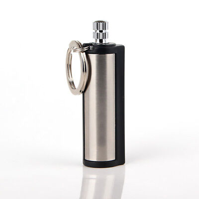 Fashion Permanent Match Striker rectangular Lighters With Key Chain Silver