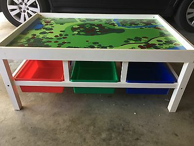 Kids Train/Lego Table Blue, Yellow, Green, Red Storage Buckets