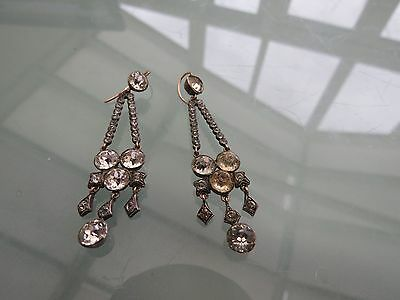 Mid Victorian Gold And Silver Paste Drop Earrings