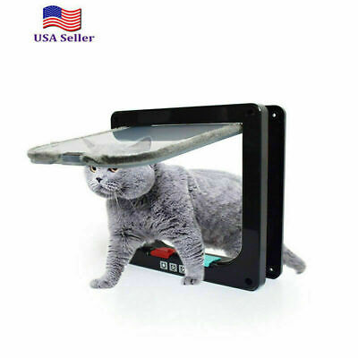 4 Way Medium Small Large Pet Cat Puppy Dog Magnetic Lockable Safe Flap Door USA