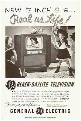 "1951 vintage AD, New 17"" Black Daylight TV GE Television  little cow girl 120514"