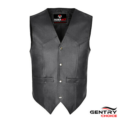 Mens Cowhide Leather Motorbike Biker Rider Vest Fashion Casual Black Waistcoat