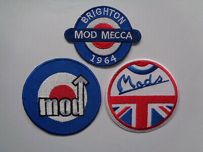 Wholesale 3 Assorted Mod Scooter Patches Iron / Sew On Northern Soul Vespa