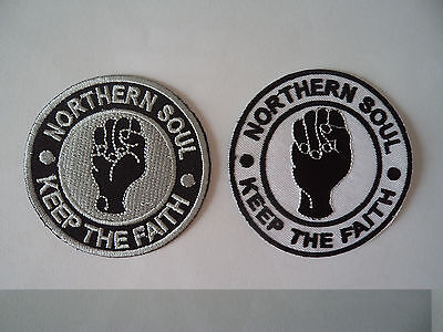 KEEP THE FAITH BLACK d IRON ON PATCH: MOD SKA SCOOTER SEW ON NORTHERN SOUL