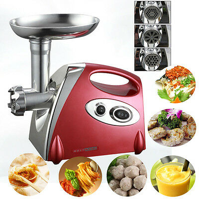 2800W Electric Meat Grinder Mincer Maker Stainless Steel Sausage Filler Red NEW