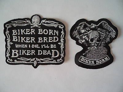 Wholesale 2 Motorcycle Skull Patches Iron / Sew On Patch Biker Born Biker Bred