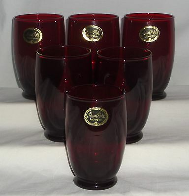 """6 Hocking ROYAL RUBY RED *4 1/2"""" FOOTED TUMBLERS w/STICKER*"""
