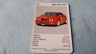 BMW 635 Original Top Trump Card Free Postage Collectible Rare