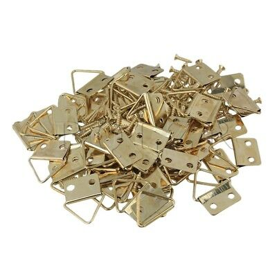 50x Gold Triangle Ring Hanger Mirror Photo Picture Frame Hooks BQLZR with Screws