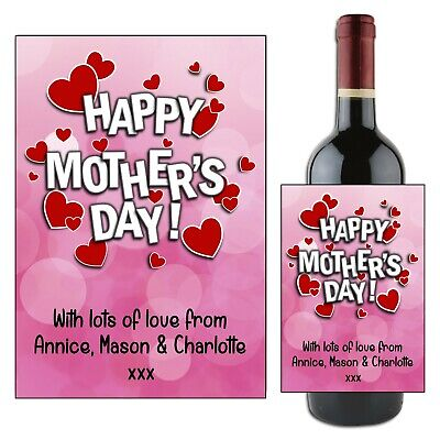 Personalised Happy Mothers Day Mum Wine Champagne Bottle Label Gift for her N110