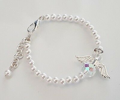 *New Baby Bling Crystal *Guardian Angel* Bracelet Gift *Christening/Communion