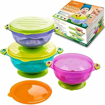 BabieB Suction Baby Bowls w/ Seal Easy Lid Stackable Spill Proof Latex Free